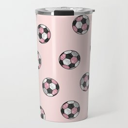 Girly Pink Gray Glitter Foil Soccer Ball  Pattern Travel Mug