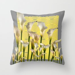 Grey & Yellow Pattern Calla Lilies Art Throw Pillow