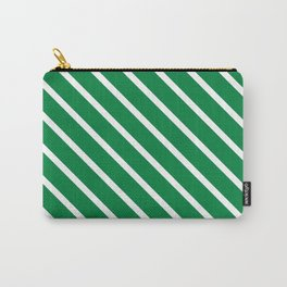 Emerald Diagonal Stripes Carry-All Pouch