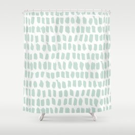 Minty strokes and abstract pastel stripes pattern design Shower Curtain