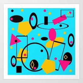retro abstract blue Art Print