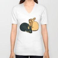 bunnies V-neck T-shirts featuring Bunnies by Nemki