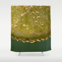 lime green Shower Curtains featuring Lime! by Caroline Benzies Photography