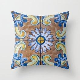 Vintage Italian Majolica Single Tile Group Throw Pillow