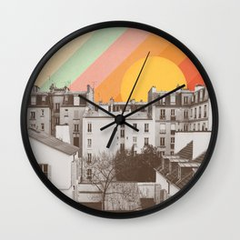 Rainbow Sky Above Paris Wall Clock