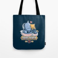 fullmetal Tote Bags featuring Alphonse's Cat Sanctuary by adho1982