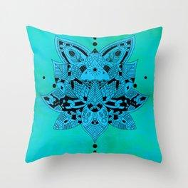 Aqua Mandala Metallic Mint Blue Throw Pillow