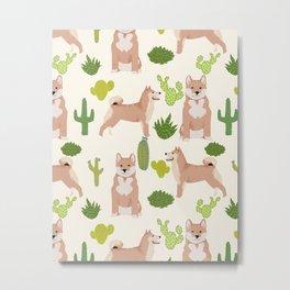 Shiba Inu dog breed pet portrait unique pet friendly must have gifts accessories cactus dogs pets Metal Print