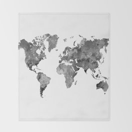 World map in watercolor gray Throw Blanket