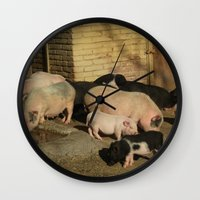 pigs Wall Clocks featuring Pigs' Party by Vito Fabrizio Brugnola