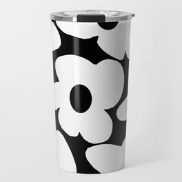 White Retro Flowers Black Background #decor #society6 #buyart Travel Mug