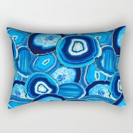 Geode Slices No.1 in Aquamarine + Sapphire Blue Rectangular Pillow