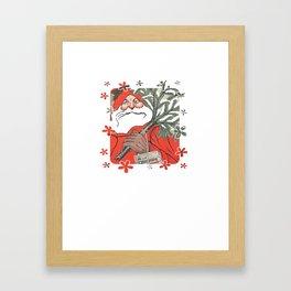 Santa Claus Delivering Christmas Pudding Kerstpudding Vector Framed Art Print