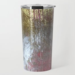 Golden Girl: a pretty abstract mixed media piece in pink, white, gold, and gray Travel Mug