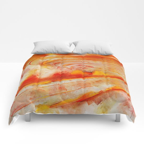 Abstract cubism orange and red Version 2 Comforters