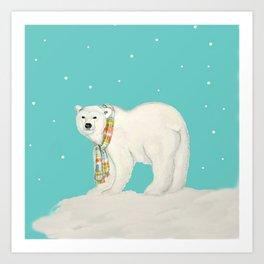 Chilly polar bear in winter Art Print