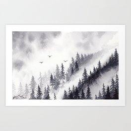Winter misty mountain pine forst landscape watercolor painting Art Print