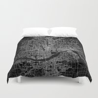 minneapolis Duvet Covers featuring minneapolis map by Line Line Lines