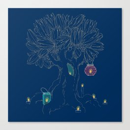 Magic tree and candles Canvas Print