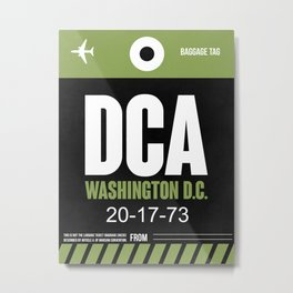 DCA Washington Luggage Tag 2 Metal Print