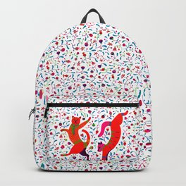 Dancing cats among spring flowers, swing & rock. Chats dansant dans les fleurs de printemps Backpack