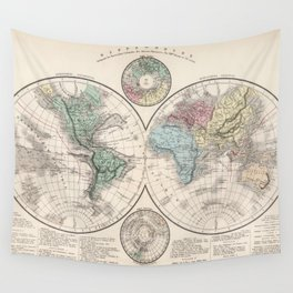 Vintage Map of The World (1886) Wall Tapestry