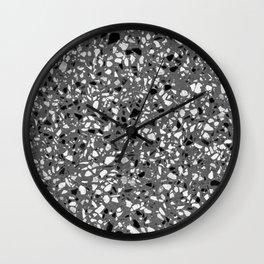 Dark Grey Monochrome Speckles Terrazzo Pattern Stone Effect Wall Clock