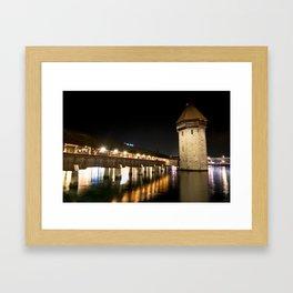 Chapel Bridge in Luzern at night, Switzerland Framed Art Print