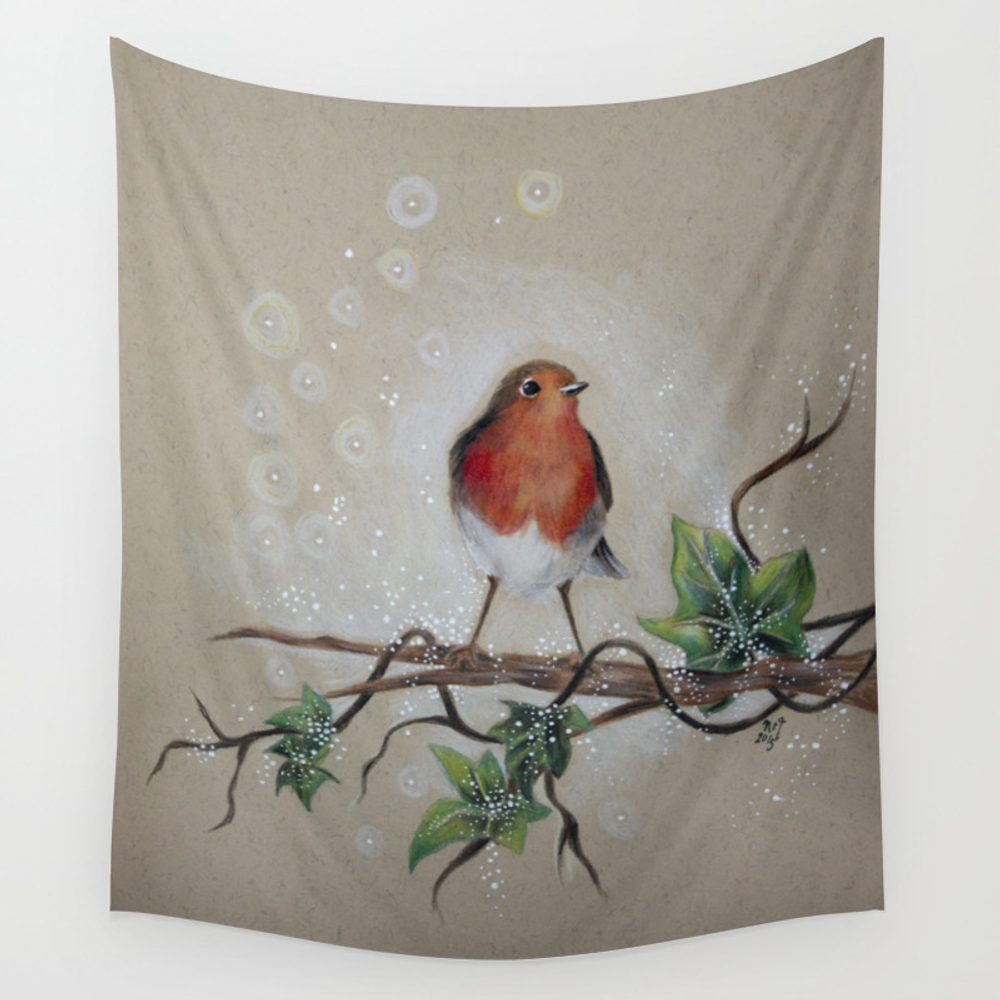 Yuletide Robin Redbreast Wall Tapestry by Helenfaerieart (TPS3954984) photo
