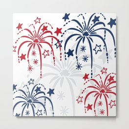 Red White and Blue (dark) Fireworks Metal Print