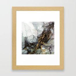 Black Gold Marble Storm Framed Art Print