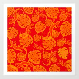 Tropical exotic monstera philodendron leaves and lizards distressed bright sunny lovely orange design. Gift ideas for nature, animal and plant lovers. Botanical pattern. Art Print