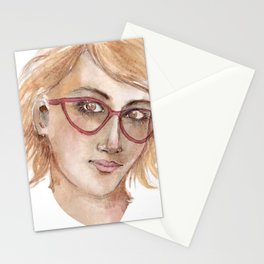 Woman in glasses by watercolors Stationery Cards