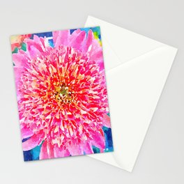 Pink Watercolor Flower Stationery Cards