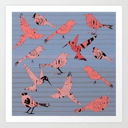 Pink birds, denim stripe Art Print