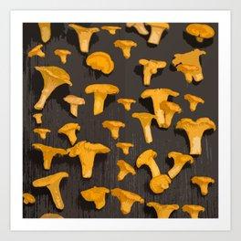 Chantterelles On A Dark Grey Background - Autumn Harvest - #Society6 #buyart Art Print