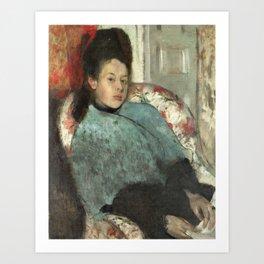 Portrait of Elena Carafa by Edgar Degas Art Print