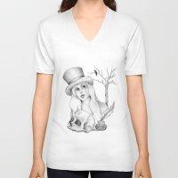 edgar allan poe V-neck T-shirts featuring Mrs. Edgar Allan Poe by Rene Robinson