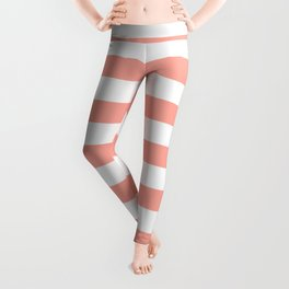 Simply Striped in Salmon Pink and White Leggings