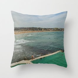 Bondi Beach Icebergs Old Throw Pillow