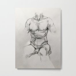 Male Torso Study Metal Print