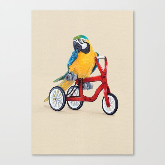Parrot macaw on red bike Canvas Print