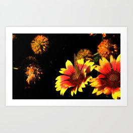 Flowers & Butterfly Art Print