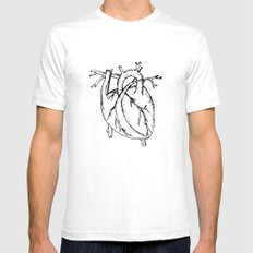 Heart White SMALL Mens Fitted Tee