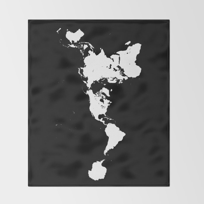 Dymaxion world map fuller projection map minimalist white on dymaxion world map fuller projection map minimalist white on black throw blanket gumiabroncs Images