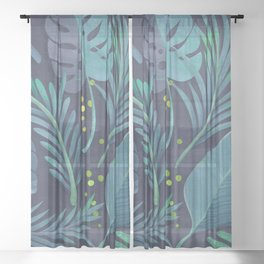 Dark Sensual Tropical Monstera Leaf Pattern Teal Navy Blue Sheer Curtain