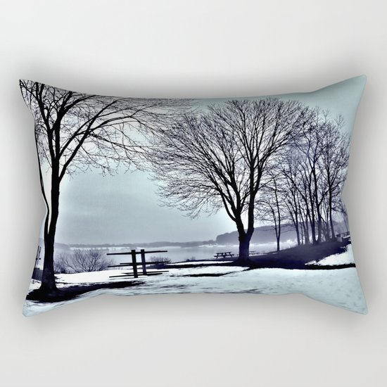 Winter Trees by the Lake Rectangular Pillow
