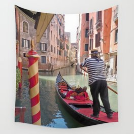 On the Canals in Venice Italy watching the Gondoliers Wall Tapestry