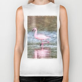 Lesser Flamingo Watercolor Biker Tank