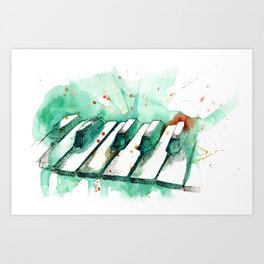 Watercolor Piano (Teal) Art Print